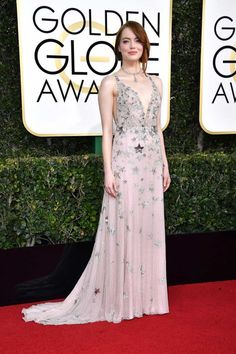 "Emma Stone in Valentino - ""Emma looks like an ethereal goddess in this Valentino—the epitome of soft femininity."""