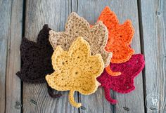 Fall Leaves Free Crochet Pattern from allfreecrochet.com. Cute!