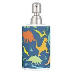 Colorful Dinosaur Pattern Soap Dispenser And Toothbrush Holder #Bathroom #Set