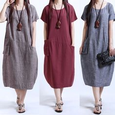 Womens Solid Casual Short Sleeve Loose Dress Cotton Linen Midi Long Kaftan - Linen Dresses - Check out for the Linen Dresses for sales. - 0 The post Womens Solid Casual Short Sleeve Loose Dress Cotton Linen Midi Long Kaftan appeared first on Dress Honey. Midi Dress Plus Size, Plus Size Dresses, Plus Size Outfits, Dresses Short, Casual Dresses, Summer Dresses, Loose Dresses, Evening Dresses, Fashion Casual