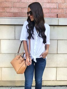 MrsCasual early Fall outfit | White button down tie top, jeans, & a tan Givenchy bag