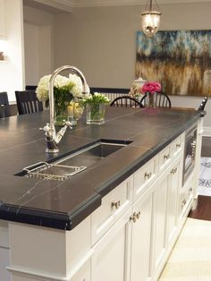 Looking for lowest price of countertops made from slate? SD Flooring has San Diego finest choice of slate countertops for kitchens and bathroom. Slate countertops offer a softer and more natural look than other stone, and is an elegant choice. Kitchen Island With Sink, New Kitchen, Kitchen Decor, Kitchen Islands, Kitchen Ideas, Island Sinks, Marble Island, Kitchen Layouts, Awesome Kitchen