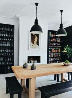 Black and white with natural wood table.