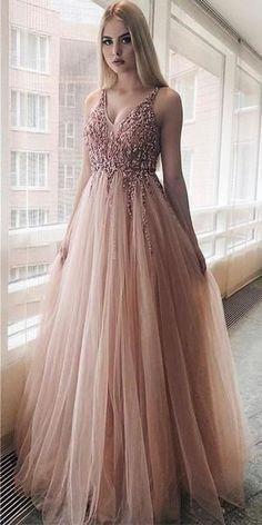 Elegant prom dresses 2019 formal dresses for teens v neck tulle long 2019 evening dresses party gowns Pretty Prom Dresses, Elegant Dresses For Women, A Line Prom Dresses, Grad Dresses, Dresses For Teens, Beautiful Dresses, Formal Dresses, Pagent Dresses, Dance Dresses