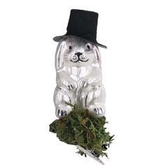 "Abracadabra Rabbit Christmas Ornament    102112 Inge-Glas of Germany    Introduced 2012    This white bunny rabbit wearing a black top hat measures approximately 4"".    Perfect keepsake for the practicing magician)) See more heirloom mouth blown, hand painted Christmas ornaments from Inge-Glas of Germany at www.trendytree.com"