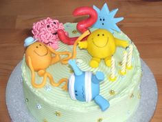 Mr Men Cake - Vanilla sponge and bc with marzipan and fondant mr men and number Men Birthday, Birthday Cakes For Men, Number 4 Cake, Number 3, Men Cake, Mr Men, Vanilla Sponge, Marzipan, Fondant