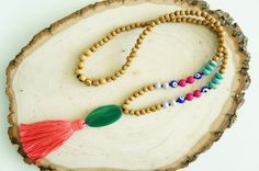 Tassel Necklace - Evil eye jewelry - Agate necklace - Bohemian Necklace