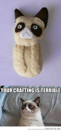 Grumpy crafting… #GrumpyCat #Tard #TarderSauce #meme #LOL #humor #grumpy #cat #funny #quotes #smile #frown #meow #craft #crafting #DIY