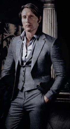 2017 Latest Coat Pant Designs Grey Tweed Men Suit Formal Slim Fit Classic Blazer Custom Men Tuxedo 3 Piece Terno Masculino Such a beautiful foto shoot, I made him take the clothes. I mean everything looks magical on him, and even better off 🤭☺🤗❤😝💯 Mads Mikkelsen, Nbc Hannibal, Hannibal Lecter, Hannibal Series, Cristian Grey, Tweed Men, Hugh Dancy, Gary Oldman, Tuxedo For Men