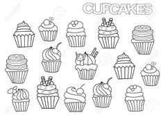 Hand drawn cupcakes set. Coloring book page template. Outline doodle vector illustration. Stock Illustration - 75989168