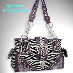 Purple Zebra Pattern Buckle Rhinestone Purse Western Handbag Animal Print