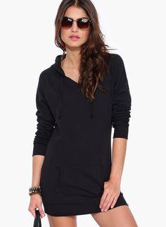 0155e1c63d0a Black Long Sleeve Hooded Pockets Sweatshirt 19.99 Sweatshirt Dress
