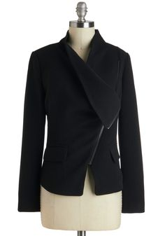 Milan a Roll Jacket - Mid-length, Black, Solid, Long Sleeve, 2, Exposed zipper, Top Rated