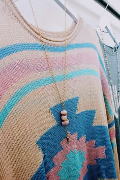 Staying light & cozy in this pastel aztec print & matching Lacey necklace from our Palm Canyon collection! #charmesilkiner #aztec #palmcanyon #aotd #pastel