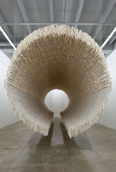Zhu Jinshi's 'boat' is part of 28 Chinese, the current exhibition at the Rubell Family Collection in Miami. The installation is constructed from 8,000 sheets of folded rice paper supported by bamboo. Thin cotton threads gracefully suspend the 12-meter-long cylindrical design. The piece is a metaphor for 'a journey,' signified by its tunnel-like interior as well as its title. When 'boat' was exhibited at Art13 London, it was perceived as illustrating the entrance of Chinese cul...