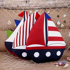 40X40Cm Striped Sea Sailing Boat Shape Bed Office Sofa Pillow Car Seat Cushion