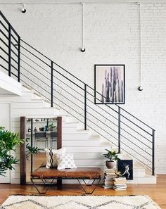 Darrow Tan Leather Ottoman with Geometric Metal Legs Indoor Railing, Loft Railing, Modern Stair Railing, Stair Railing Design, Metal Stairs, Staircase Railings, Bannister, Staircases, Stair Case Railing Ideas