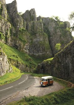 Volkswagen T2 bus / camper in the mountains.