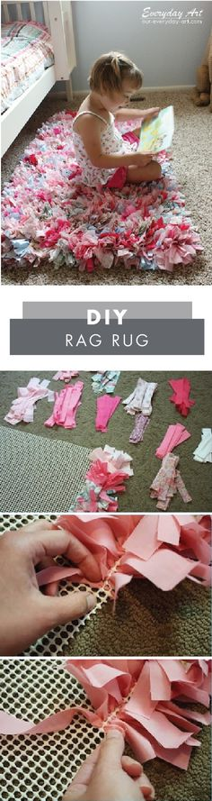 DIY and Crafts: Adding cozy comfort to your little girl's bedroom has never been easier—thanks to this DIY Rag Rug! Grab a no-skid rug mat, a latch hook tool, and your choice of patterned fabric from Jo-Ann to get started on this no-sew craft project. Craft Projects, Sewing Projects, Crafts For Kids, Arts And Crafts, Diy Projects To Sell, Craft Ideas, Easy Crafts To Sell, Baby Diy Projects, Baby Crafts