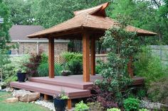 Backyard Japanese Azumaya Tea House Gazebo on Elevated Deck