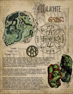 Malachite, Book of Shadows printable page. Crystal Magic, Crystal Healing Stones, Wiccan Spells, Witchcraft, Crystals And Gemstones, Stones And Crystals, Grimoire Book, Herbal Magic, Practical Magic