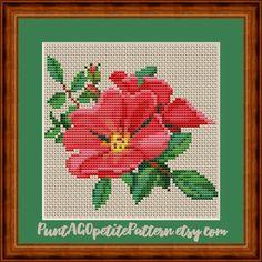 Mini Cross Stitch, Cross Stitch Flowers, Cross Stitch Patterns, Anchor Threads, Red Dog, Cute Pattern, Charts, Embroidery, Etsy