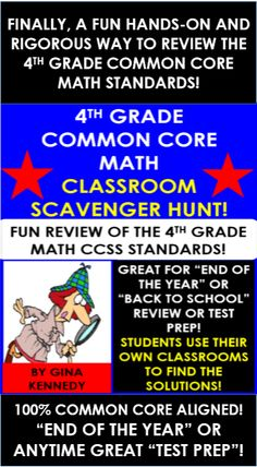 "FINALLY, A 4 GRADE MATH ""END OF THE YEAR"" REVIEW WITH RIGOR, FUN AND HANDS-ON OPPORTUNITIES! Reviewing math skills and standards does not have to be boring. I have compiled six rigorous classroom scavenger math hunts in which your students will use your classroom as their hands-on math manipulative. All of the activities in this resource are 100% aligned to the 4th grade common core math standards. GREAT ""END OF THE YEAR"" OR ANYTIME TEST PREP REVIEW!"