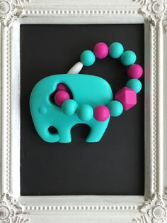 Aqua elephant teether on silicone bead ring by LilchicboutiqueLIC on Etsy