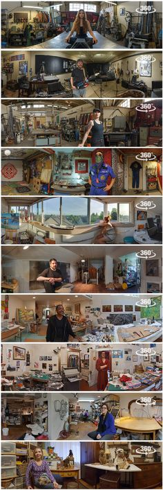 Panoramas of Artists in their Studios - Bohonus VR photography http:// Art Studio At Home, 3d Studio, Dream Studio, Creative Studio, Home Art Studios, Music Studios, Studio Ideas, Artist Workspace, Portrait Studio