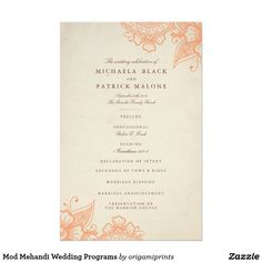 Mod Mehandi Wedding Programs Elegant henna inspired wedding design by Shelby Allison. Clink the Mod Mehandi Collection link to view matching items including invitations, rsvp cards, stickers and more.