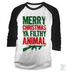 Merry Christmas Ya Filthy Animals Baseball Shirt