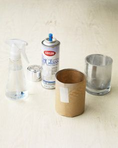 Instant Antique Candleholders -- How to instantly make ordinary glass containers look antique using mirror paint, spray bottle with water, and glass candleholders