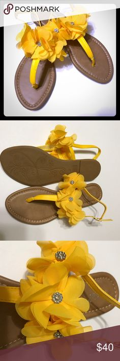 NICOLE Yellow Petal & Crystal Sandals NWOB NWOB NICOLE Petal & Crystal Sandals in a beautiful Mustard Yellow color are too cute-o-la. Dress your feet in this Sweet and delicate looking sandal. The crystal details in the center of each petal is what makes these super stylish and unique. Comes Beautiful mustard yellow color that compliments any skin tone especially tanned skin. Fits true to size. These are brand new, never worn but without original box NWOB. Must have for Spring and summer…