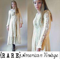 Vtg 70s GUNNE SAX JESSICA McCLINTOCK Boho Festival LACED Bodice WEDDING Dress