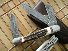 "TNZ Custom Made ""True Damascus Trapper Folding Knife"" w Stag Horn Handle | eBay"
