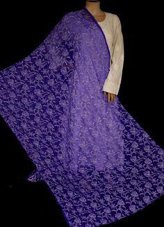 World's Most Loved Online Chikankari Store ! White Chiffon, White Cotton, Kamiz, Ink Blue, Black B, Thread Work, Blue Fabric, Hand Embroidery, Purple
