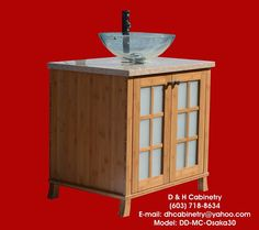 32 Modern / Contemporary Bamboo Bathroom Vanity  by DandHCabinetry, $825.00