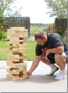 Make your own giant version of the game jenga. Giant Jenga, Outdoor Fun, Outdoor Jenga, Outdoor Games, Outdoor Entertaining, Crafts For Kids, Diy Crafts, Diy Porch, Games