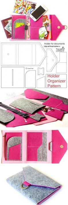 Tutorial. Easy to sew bright felt organizer. How to sew a Purse-Holder. http://www.free-tutorial.net/2016/12/organizer-wallet-sewing-tutorial.html