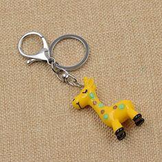 Amazon.com: Cartoon Giraffe Figure Keychain Alloy Lobster Clasp Kawaii Pink Yellow Keyring 1 Pc: Clothing