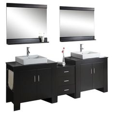 """Bathroom Vanity with Mirror in Black 90.1""""W is probably too much, but a step in the right direction"""