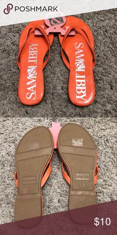 4a16b561e Sam   Libby Orange Logo Flip Flops Brand new with tags. Womens size 6.