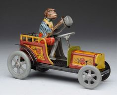 Lot # : 761 - German Tin Litho Wind - Up Distler Monkey Car Toy