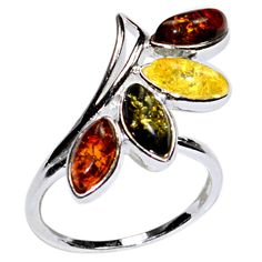 3.4g Authentic Baltic Amber 925 Sterling Silver Ring Jewelry s.7 A7229S7 | eBay