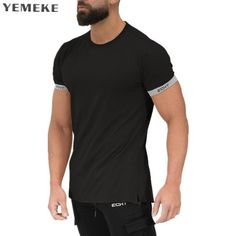 88e36a9628c Men s Summer style Fashion personality t Shirt Bodybuilding Muscle male  Leisure Short sleeves Slim fit Shirts Tee tops clothing
