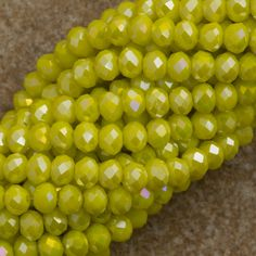 100 Faceted Rondelle 3x4mm Opaque Yellow AB Beads