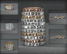 Hand Stamped Stacking NAME RING - kids name ring gold rose gold posey mothers ring hand stamped stacking ring stacking ring stacked by LEJewelryDesigns Name Rings Silver, Gold Rings, Mood Jewelry, Fashion Jewelry, Or Rose, Rose Gold, Birthstone Stacking Rings, Photo Letters, Multiple Rings
