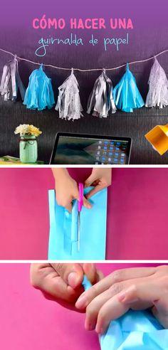 Esta idea te va a encantar, es una guirnalda de papel crepé ideal para adornar tu cuarto o la puedes utilizar en una mesa de dulces.
