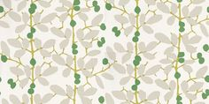 Ilsa (W376/03) - Romo Wallpapers - Inspired by a Matisse cut-out, this fresh stylised trail is printed in contemporary colour combinations. Shown here in emerald green, lime green and grey on an off white background. Other colourways are available. Please request a sample for a true colour match