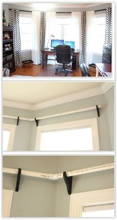 Curtain Rods Made From PVC Pipe . she bought unfinished wood curtain rod brackets from Lowes, PVC pipe & spray paint . How To Make Curtains, Diy Curtains, Curtains With Blinds, Pipe Curtain Rods, Curtain Rod Brackets, Pvc Storage, Cheap Storage, Pvc Windows, Accent Walls In Living Room